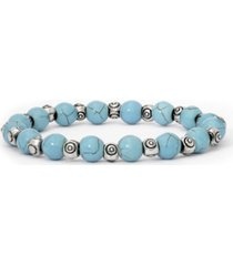 macy's simulated turquoise in fine silver plated swirl design beaded stretch bracelet