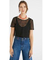 semi-sheer t-shirt bodysuit - black - xl