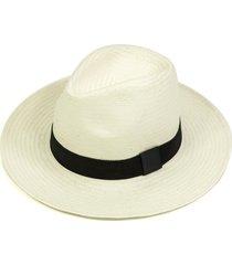 chapéu chapelaria vintage estilo panamá branco - aba média - faixa preta