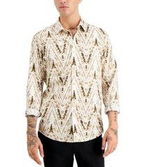 inc international concepts men's long-sleeve chevron shirt, created for macy's