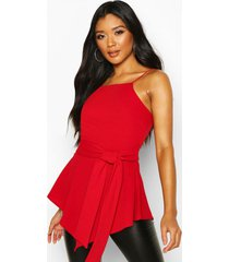 crepe tie front asymmetric top, red