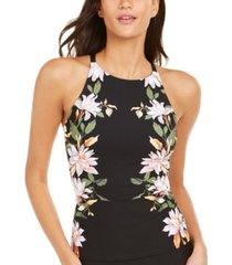 calvin klein printed high-neck crossback tankini swim top women's swimsuit