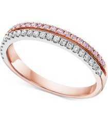white & pink diamond two-tone ring (1/3 ct. t.w.) in 14k white gold & 14k rose gold