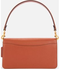 coach women's mixed leather with polished pebble tabby bag -saddle