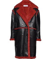 teddy coat lange leren jas lange jas zwart ivyrevel