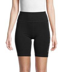 dkny women's logo stripe bike shorts - black - size xl