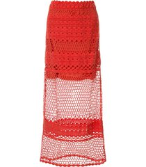 suboo stella side button crochet skirt - red