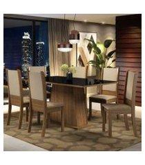 conjunto sala de jantar madesa emma mesa tampo de vidro com 6 cadeira cor:rustic/preto/sintético bege