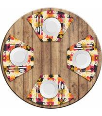 jogo americano love decor para mesa redonda wevans xícaras coloridas kit com 4 pçs