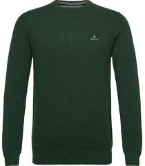 cotton pique c-neck stickad tröja m. rund krage grön gant