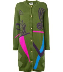 a.n.g.e.l.o. vintage cult 1980's graphic knitted cardigan - green