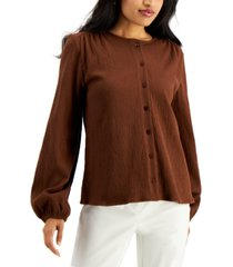 alfani textured balloon-sleeve button-front top, created for macy's
