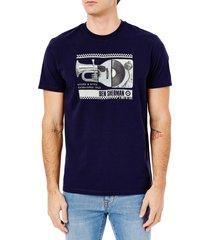 men's ben sherman men's spliced music graphic tee, size medium - blue/green