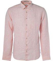no excess shirt, l/sl, 2 col yarn dyed linen peach