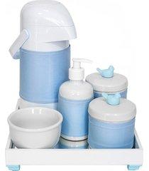 kit higiene espelho completo porcelanas, garrafa e capa passarinho azul quarto bebê menino