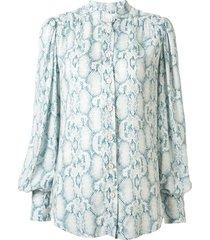 ginger & smart charm snakeskin-print shirt - blue