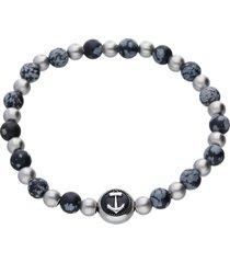 bracciale elastico con pietre grigie e blu rotonde e dettaglio ancora in acciaio per uomo
