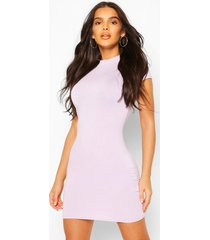 high neck cap sleeve bodycon dress, lilac