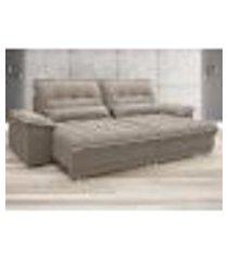 sofá bergamo 2,70m assento retrátil e reclinável velosuede bege - netsofas