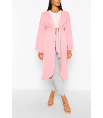 crepe wide sleeve tie kimono, hot pink