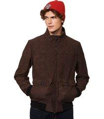 brown mèlange thermo jacket - suede look