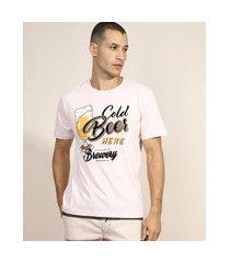 "camiseta masculina cold beer here"" flocada manga curta gola careca rosa claro"""