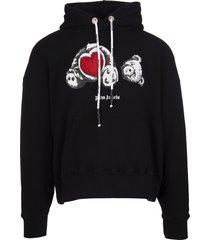 palm angels man black bear in love hoodie