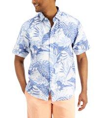 tommy bahama men's true blue fronds stretch leaf-print shirt