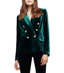 women's l'agence kenzie double breasted velvet blazer, size 14 - green