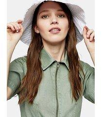 white wide fray bucket hat - white