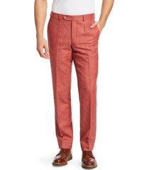 saks fifth avenue men's collection wool, silk & linen flat-front dress pants - orange - size 38 r