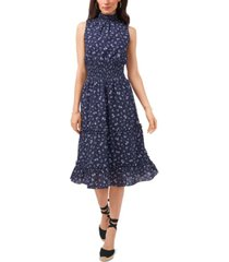 1.state cotton eyelet-embroidered smocked dress