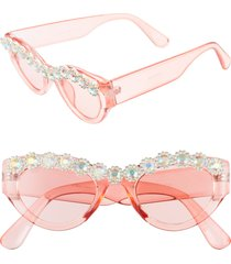 women's rad + refined 50mm chunky crystal embellished sunglasses - pink / crystal