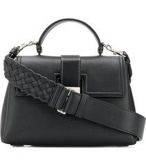 bottega veneta intrecciato strap shoulder bag - black