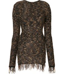 balmain frayed hem mini dress - brown