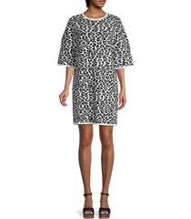 carolina herrera women's leopard jacquard-knit dress - black white - size l