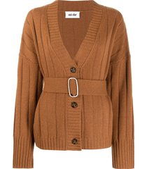 each x other belted oversized cardigan - brown