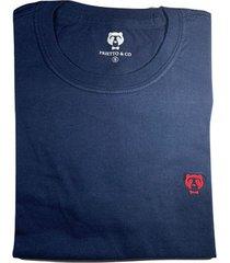 camiseta cuello redondo hombre - color azul con rojo