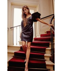 womens dance or flight faux leather feather mini dress - black