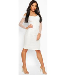 dobby off shoulder ruched bodycon midi dress, white