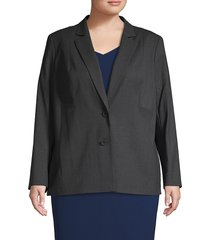 lafayette 148 new york women's plus henning stretch wool jacket - smoke - size 18w
