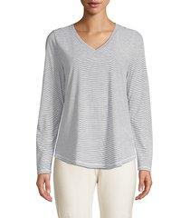 eileen fisher women's striped top - white blue - size m