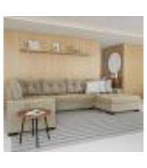 sofá de canto 6 lugares com chaise direito versalhes suede animale cinza