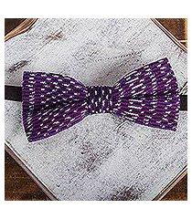 cotton bow tie, 'aubergine charm' (mexico)