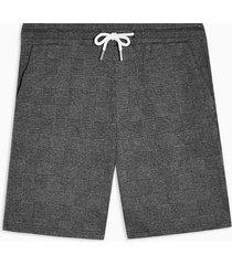 mens grey prince of wales check jersey shorts
