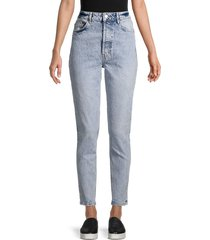 free people women's zuri high-rise mom jeans - lived in blue - size 28 (4-6)