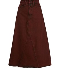 proenza schouler white label high-rise midi denim skirt - red