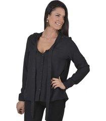 blusa c/encaje negro alexandra cid