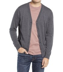 men's nordstrom washable merino wool cardigan, size large - grey