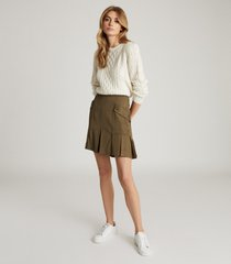 reiss mina - pleated mini skirt in khaki, womens, size 14